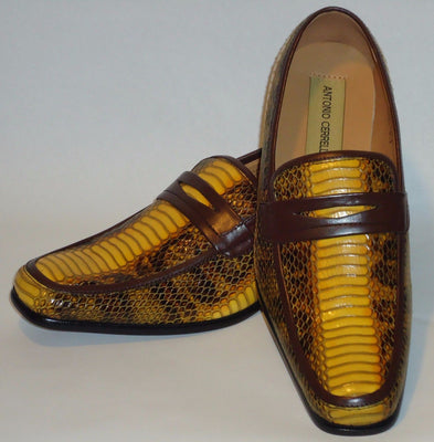 Mens Golden Yellow & Brown Snake Look Dress Loafers Shoes Antonio Cerrelli 6494 - Nader Fashion Las Vegas