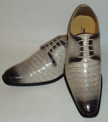 Mens Heather Gray Fade Fashionable Dress Shoes with Gator Print Liberty LS993 - Nader Fashion Las Vegas