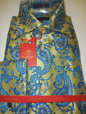 Mens Gold & Bright Blue Floral Garden Paisley Leonardi Fashion Shirt Style 400 - Nader Fashion Las Vegas