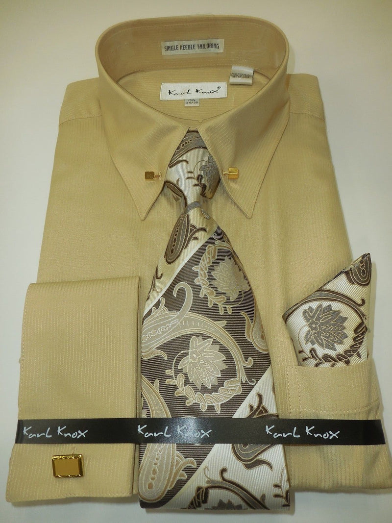 Karl Knox SX4376 Mens Tan Beige Pointed Pin Collar French Cuff Dress Shirt Paisley Tie