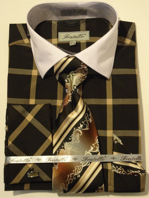 Mens Black + Gold Designer Plaid French Cuff Dress Shirt Fratello FRV4123 - Nader Fashion Las Vegas