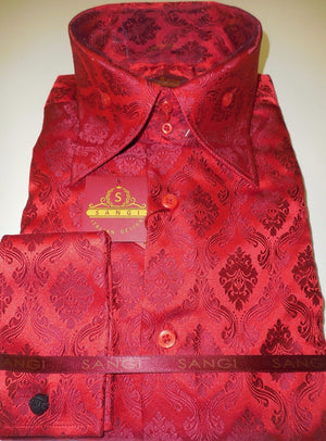 Mens Shiny Regal Red Damask High Collar French Cuff Designer Shirt SANGI 1010 - Nader Fashion Las Vegas