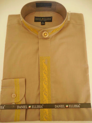 Mens Collarless Mandarin No Collar Dress Shirt Taupe Bright Gold DS3112C - Nader Fashion Las Vegas