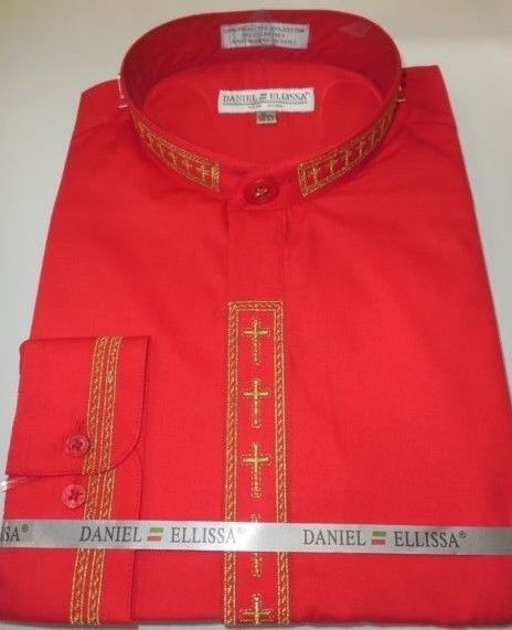 Mens Mandarin Collarless No Collar Red Dress Shirt with Cross Design DS2005C - Nader Fashion Las Vegas