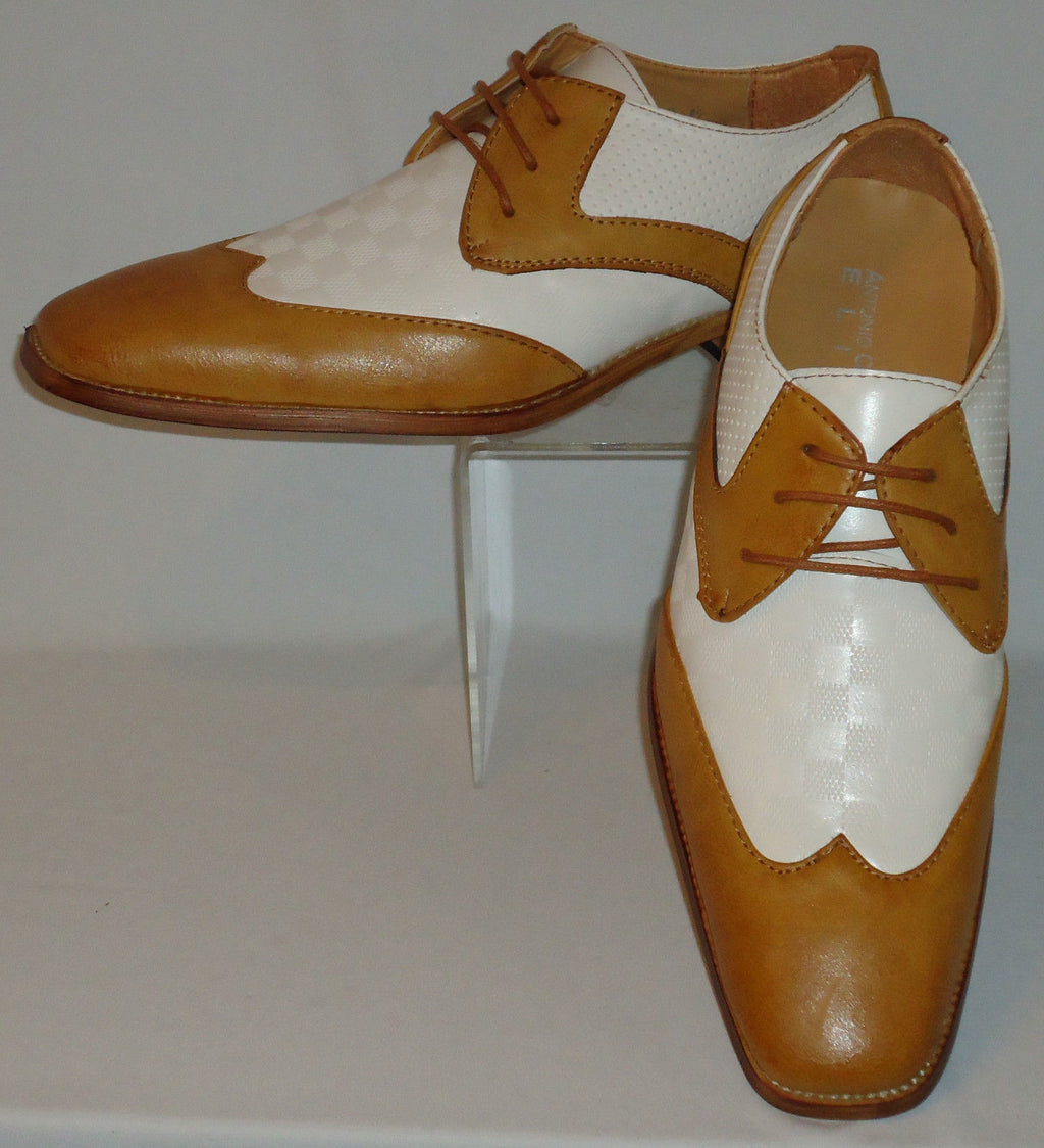 Mens Retro Camel & White Wingtip Dress Shoes w/ Cool Check Antonio Cerrelli 6656 - Nader Fashion Las Vegas