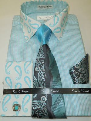Mens Turquoise Tiny Check Dress Shirt Paisley Collar French Cuff Karl Knox 4344 - Nader Fashion Las Vegas
