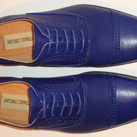 Mens Fashionable New Design Royal Navy Blue Dress Shoes Antonio Cerrelli 6694 - Nader Fashion Las Vegas