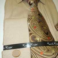 Mens Natural Beige Woven Look Dress Shirt + Beautiful Brown Tie Karl Knox 4363 - Nader Fashion Las Vegas