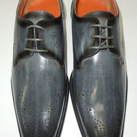 Mens Gray Grey Faux Eel Look Perforated Detail Dress Shoes Antonio Cerrelli 6712 - Nader Fashion Las Vegas