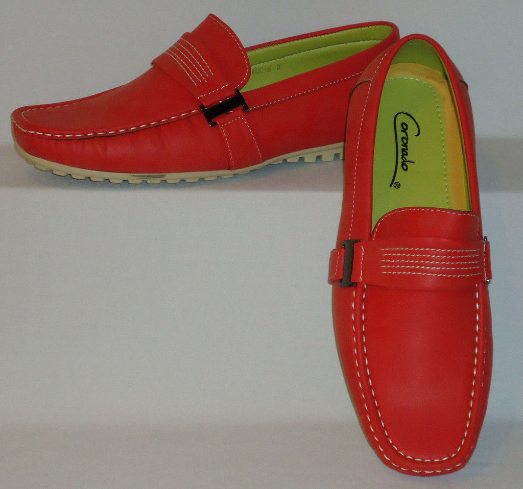 Mens Fun Red Color Stylish Boat Shoes Driving Mocs Soft Touch Feel Moc6-Red - Nader Fashion Las Vegas