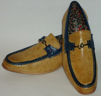Mens Scotch Tan Navy Accent Floral Detailed Cool Loafers Antonio Cerrelli 6676 - Nader Fashion Las Vegas