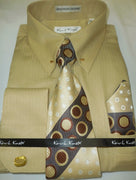 Mens Khaki Tan Gold Collar Bar French Cuff Dress Shirt + Tie Set Karl Knox 4367 - Nader Fashion Las Vegas
