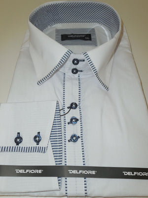 Mens Modern Styled Shirt White Subtle Stripe Contrast Cuff Del Fiore 100/02 - Nader Fashion Las Vegas