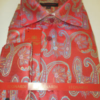 Mens Red & Gold Tapestry Paisley Spread High Collar Leonardi Shirt Style 372 - Nader Fashion Las Vegas