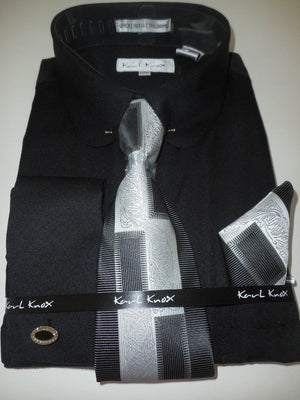Mens Classic Black Round Eyelet Pin Collar Bar Cuffed Dress Shirt Karl Knox 4368 - Nader Fashion Las Vegas