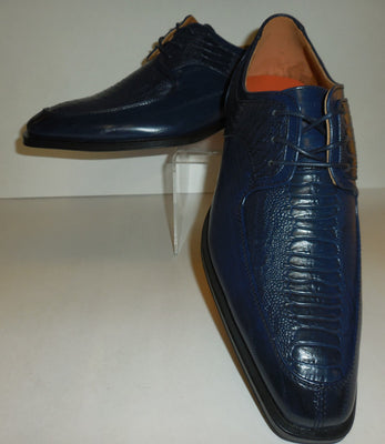Mens Navy Blue Classic Oxfords Exotic Emboss Dress Shoes Antonio Cerrelli 6536 - Nader Fashion Las Vegas