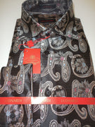 Mens Black Brownish Tapestry Paisley Spread High Collar Leonardi Shirt Style 406 - Nader Fashion Las Vegas
