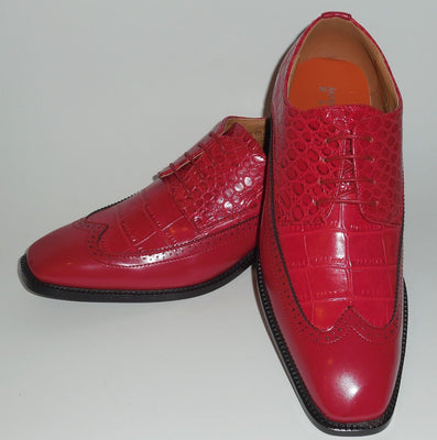Mens Classic Red Wingtip Oxford Fashion Dress Shoes Antonio Cerrelli 6714 - Nader Fashion Las Vegas