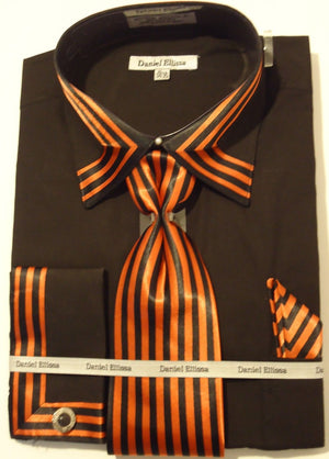 Mens Bold Black Orange Cuffed Dress Shirt Matching Tie Daniel Ellissa DS3757 - Nader Fashion Las Vegas