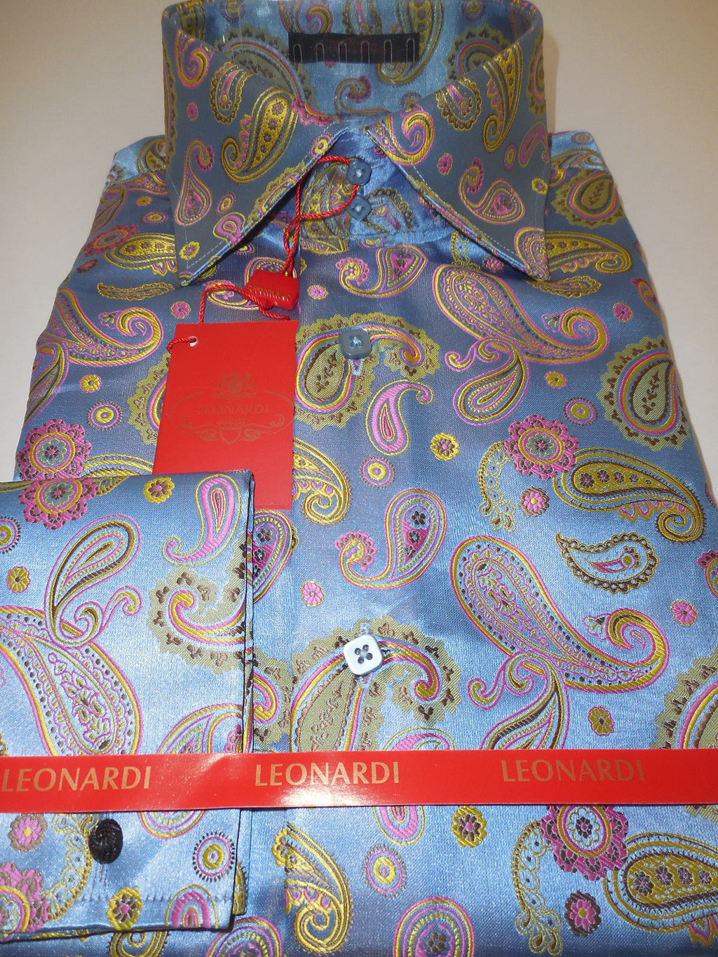 Mens Gleaming Blue & Pink Paisley Leonardi High Collar Cuffed Shirt Style 311 - Nader Fashion Las Vegas