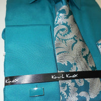 Mens Lovely Teal Dk Turquoise French Cuff Dress Shirt + Panel Tie Karl Knox 4351 - Nader Fashion Las Vegas