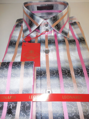 Mens Leonardi High Collar Double Cuff Shirt Cool Gray Pink Stripe Style 314 - Nader Fashion Las Vegas