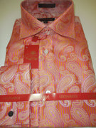 Mens Glossy Gold Pink Coral Intricately Woven Paisley Leonardi Shirt Style 388 - Nader Fashion Las Vegas