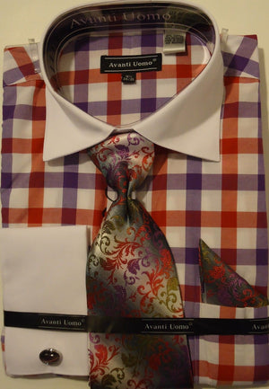 Mens Bold Purple Red Plaid French Cuff Dress Shirt w/ White Collar Avanti DN58M - Nader Fashion Las Vegas