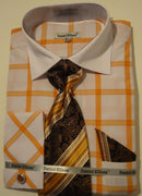 Mens Orange White Big Plaid Cuffed Dress Shirt + Tie Daniel Ellissa DS3768 - Nader Fashion Las Vegas
