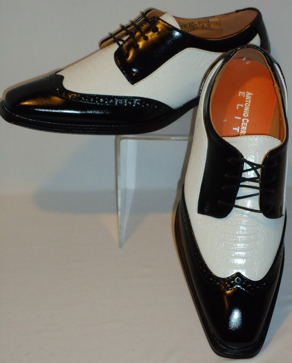 Mens Black & White Vintage Wing Tip Look Dress Shoes Antonio Cerrelli 6608 - Nader Fashion Las Vegas
