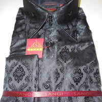 Mens Midnight Black Arabesque High Collar French Cuff Shirt SANGI Style 1007 - Nader Fashion Las Vegas