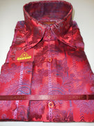 Mens Cranberry Red Paisley Flourish High Collar Cuffed Designer Shirt SANGI 1037 - Nader Fashion Las Vegas