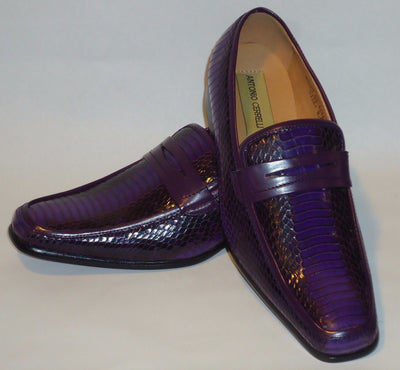 Mens Awesome Purple Snake Look Dress Loafers Shoes Antonio Cerrelli 6494 - Nader Fashion Las Vegas