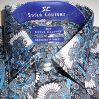 Mens Blue White Multi Flower Modern Fit Clubbing Shirt by Suslo 100% Sateen - Nader Fashion Las Vegas