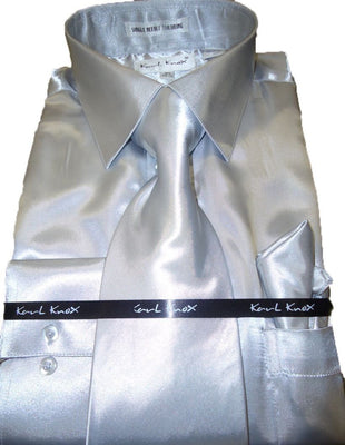 Mens Karl Knox Shiny Silver Gray Silky Satin Formal Dress Shirt Tie & Hanky - Nader Fashion Las Vegas