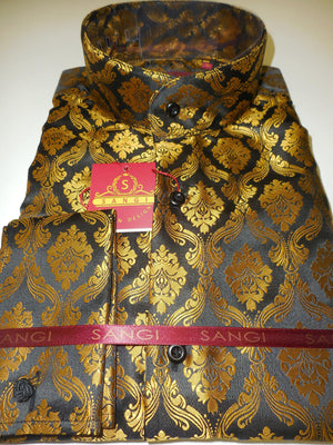 Mens Black Gold Regal Damask Nehru Banded Collar Shirt SANGI Style 1001 - Nader Fashion Las Vegas
