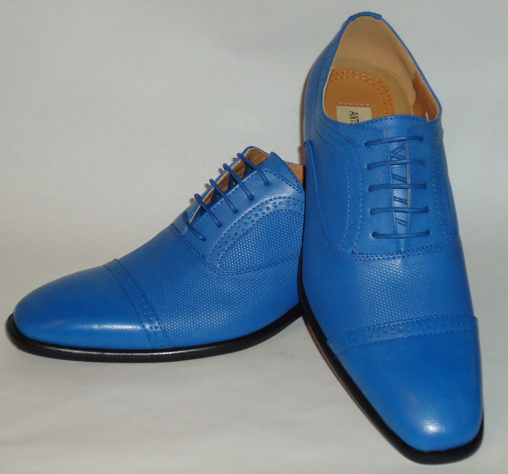 Mens Fashionable New Design Bright Blue Dress Shoes Antonio Cerrelli 6694 - Nader Fashion Las Vegas