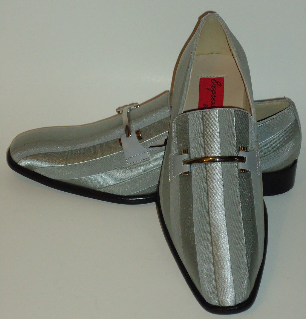 Mens Elegant Silver Gray Satin Stripe Tux Dress Loafers Shoes Expressions 6757 - Nader Fashion Las Vegas