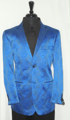 Mens Fashionable Royal Blue Paisley Leonardi Blazer Sportscoat Jacket Style 822 - Nader Fashion Las Vegas