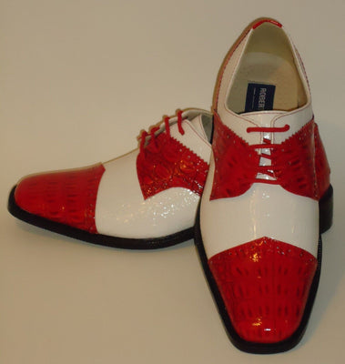 Mens Old School Red White Shiny Croco Look Dress Shoes Roberto Chillini 6744 - Nader Fashion Las Vegas