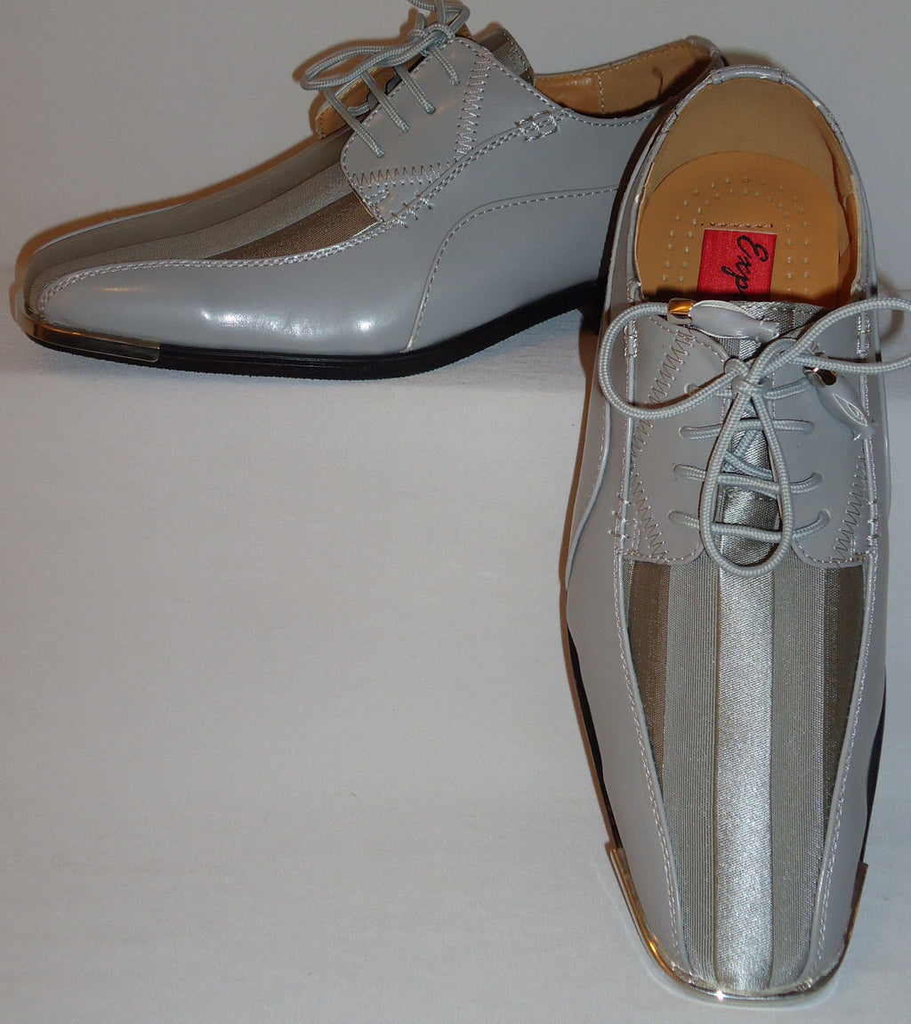 Mens Gorgeous Silver Gray Satin Stripe Silvertip Dress Shoes Expressions 4925 - Nader Fashion Las Vegas