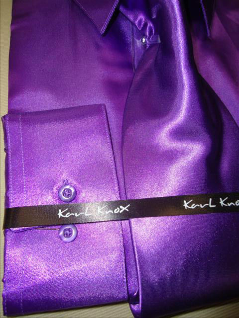 Mens Karl Knox Shiny Purple Silky Satin Formal Dress Shirt