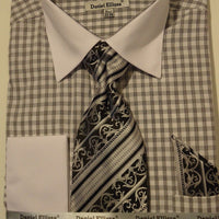 Mens Black White Plaid Cuffed Dress Shirt White Collar Daniel Ellissa DS3762 - Nader Fashion Las Vegas