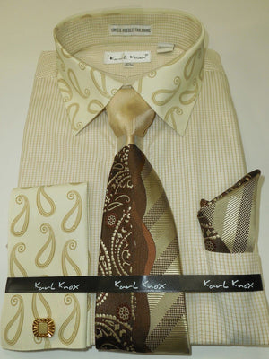 Mens Tan Beige Tiny Check Dress Shirt Paisley Collar French Cuff Karl Knox 4344 - Nader Fashion Las Vegas