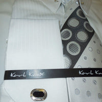 Mens White Subtle Stripe Collar Bar French Cuff Dress Shirt + Tie Karl Knox 4367