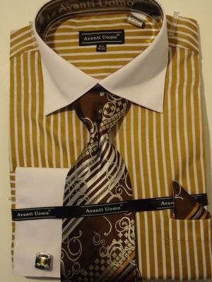 Mens Sophisticated 2-Tone Taupe Striped Cuffed Dress Shirt Avanti DN51M - Nader Fashion Las Vegas
