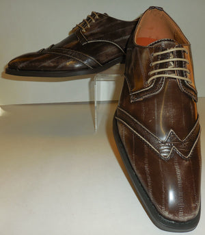 Mens Taupe Distressed Vintage Style Wingtip Dress Shoes Antonio Cerrelli 6533 - Nader Fashion Las Vegas