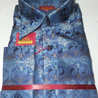 Mens Navy Blue Paisley Brocade High Collar Cuffed Designer Shirt SANGI 1041 - Nader Fashion Las Vegas