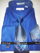 Mens Royal Navy Blue Elegant Collar Bar French Cuff Dress Shirt Karl Knox 4365 - Nader Fashion Las Vegas