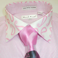 Mens Pink Tiny Check Dress Shirt w/ Paisley Collar + French Cuff Karl Knox 4344 - Nader Fashion Las Vegas